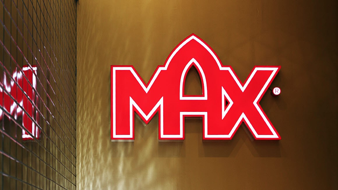 MAX Logo sign  in red on a wall. Photo