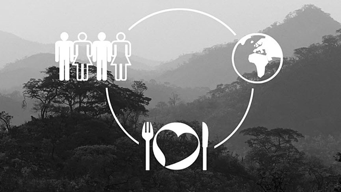 Sustainability illustration on background imagee, a dark forrest. Illustration of people, earth and a plate with cutlery and a heart in a circle.