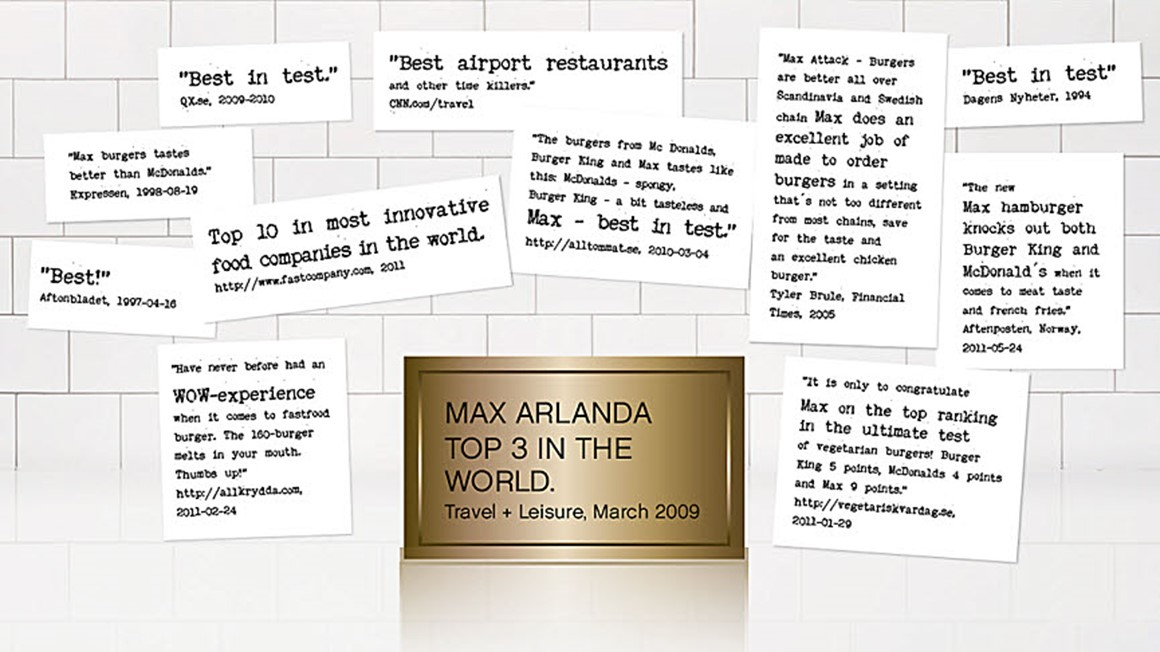 Collage of quotations from papers and tests that tested the MAX burgers.